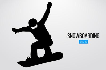 分離されたジャンプ スノーボーダーのシルエット。別のレイヤーの背景とテキスト色をワンクリックで変更できます。ベクトル図