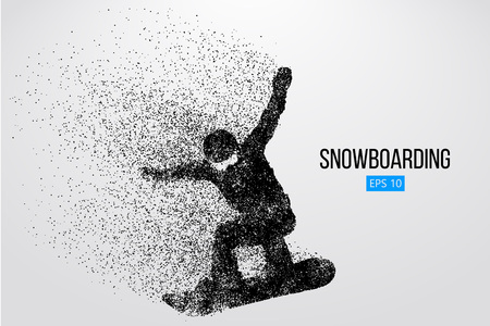 Silhouette of a snowboarder jumping isolated. Background and text on a separate layer, color can be changed in one click. Vector illustration