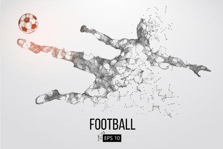 Silhouet van een voetballer van deeltjes Vector Illustratie