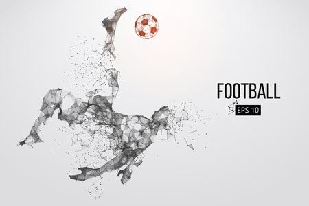 Silhouette of a football player from particles