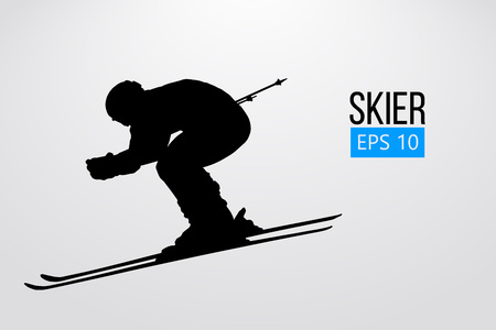 Silhouette of skier isolated. Vector illustration Ilustração