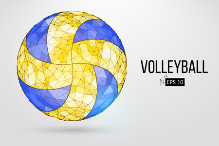 Silhouette of a volleyball ball. Dots, lines, , text, color effects and background on a separate layers, color can be changed in one click. illustration.