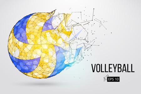 Schattenbild eines Volleyballballs. Punkte, Linien,, Text, Farbeffekte und auf einer separaten Ebene, Farbe kann mit einem Klick geändert werden. Illustration. Vektorgrafik