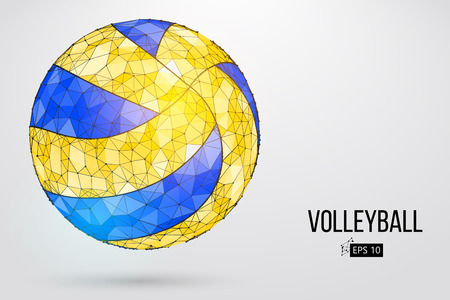 Silhouette of a volleyball ball. Dots, lines, triangles, text, color effects and background on a separate layers, color can be changed in one click. Vector illustration. Zdjęcie Seryjne - 86958972