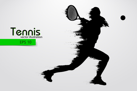 Silhouette of a tennis player. Vector illustration Reklamní fotografie - 87466921