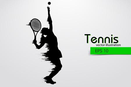 テニス選手のシルエット。ベクトル図