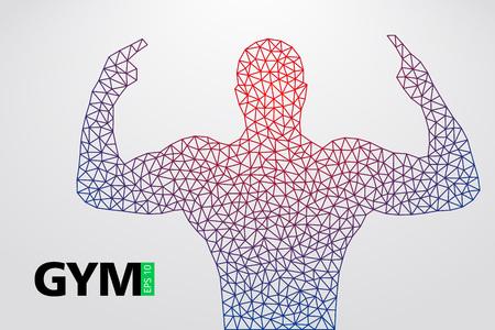 Schattenbild eines Bodybuilders. Gym Logo Vektor. Vektor-Illustration Standard-Bild - 88085107