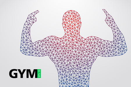 Silhouette of a bodybuilder. gym logo vector. Vector illustration Illusztráció