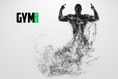 Silhouet van een bodybuilder. sportschool logo vector. Vector illustratie
