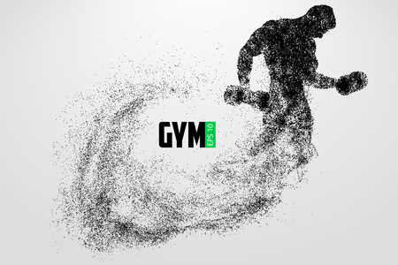 Silhouette of a bodybuilder. gym logo vector. Vector illustration Çizim
