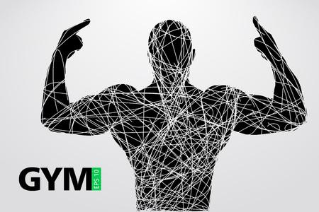 Silhouette of a bodybuilder. gym logo vector. Vector illustration
