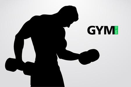 Silhouette di un bodybuilder. logo vettoriale palestra. Illustrazione vettoriale Archivio Fotografico - 88085120