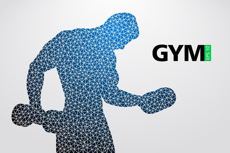 Silhouette of a bodybuilder. gym logo vector. Vector illustration Ilustrace