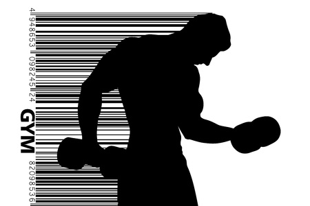 Silhouette of a bodybuilder. gym logo vector. Vector illustration Ilustracja