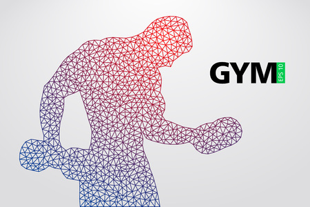 Silhouette of a bodybuilder. Text and background on a separate layer, color can be changed in one click. Vector illustration Ilustração