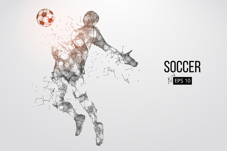 silhouette of a football player from particles. Vector illustration Stock Illustratie