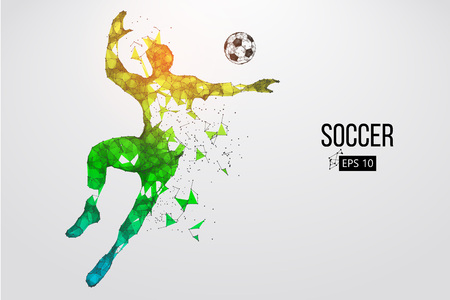 silhouette of a football player from particles. Vector illustration 일러스트