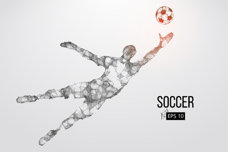 silhouette of a football player from particles. Vector illustration 向量圖像