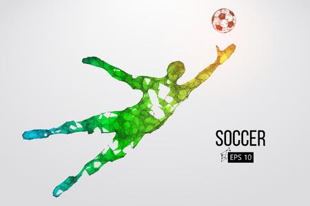 silhouet van een voetballer uit deeltjes. Vector illustratie