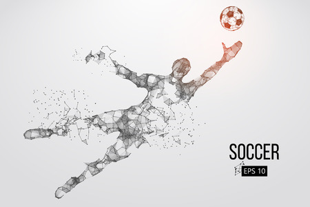 silhouette of a football player from particles. Vector illustration Çizim