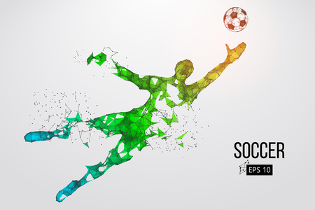 silhouette of a football player from particles. Vector illustration Ilustração