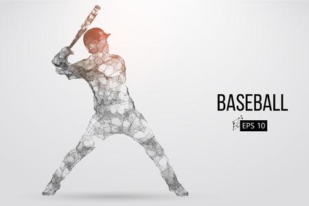 야구 선수의 실루엣입니다. 도트, 선, 삼각형, 텍스트, 색상 효과 및 배경을 별도 레이어에 배치하여 한 번의 클릭으로 색상을 변경할 수 있습니다. 벡
