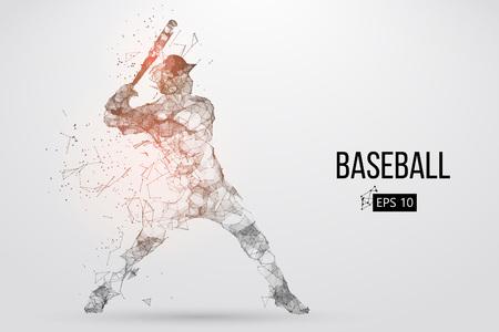 Silueta de un jugador de béisbol. Puntos, líneas, triángulos, texto, efectos de color y fondo en capas separadas, el color se puede cambiar con un solo clic. Ilustración vectorial