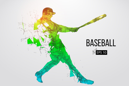 Silhouette of a baseball player. Dots, lines, triangles, text, color effects and background on a separate layers, color can be changed in one click. Vector illustration.