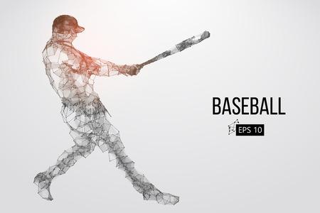 Silhouette di un giocatore di baseball. Punti, linee, triangoli, testo, effetti colore e sfondo su livelli separati, il colore può essere modificato in un clic. Illustrazione vettoriale Archivio Fotografico - 90218869