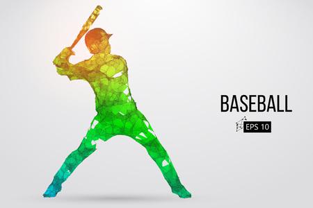 Silhouette d'un joueur de baseball. Points, lignes, triangles, texte, effets de couleur et arrière-plan sur des calques séparés, la couleur peut être changée en un clic. Illustration vectorielle Banque d'images - 90159804