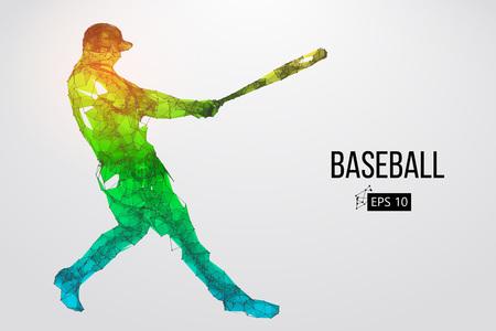 Silhouet van een honkbalspeler. Punten, lijnen, driehoeken, tekst, kleureffecten en achtergrond op afzonderlijke lagen, kleur kan met één klik worden gewijzigd. Vector illustratie.