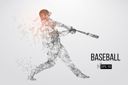Silhouette eines Baseballspielers. Punkte, Linien, Dreiecke, Text, Farbeffekte und Hintergrund auf einer separaten Ebene, Farbe kann mit einem Klick geändert werden. Vektor-Illustration. Standard-Bild - 90148369