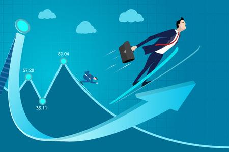 Business man concept vectorillustratie. Beoordeling, ervaring, inkomen uit vaardigheden, winst, succes, vooruitgang omhoog Vector Illustratie