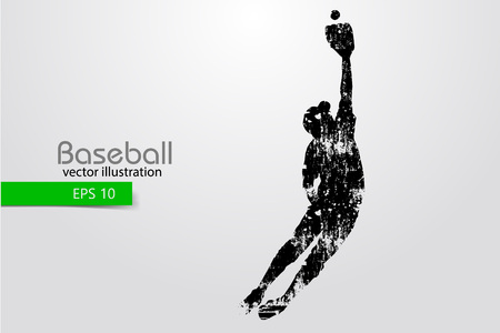 Silhouette of a baseball player. Color can be changed in one click. Vector illustration