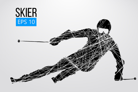 Silhouette of skier isolated. Vector illustration 向量圖像