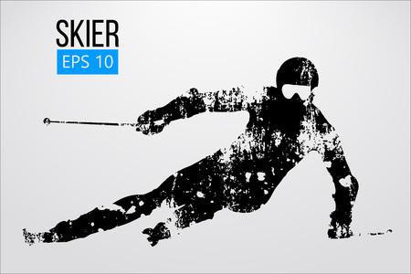Silhouet van geïsoleerde skiër. Vector illustratie Stockfoto - 91232234