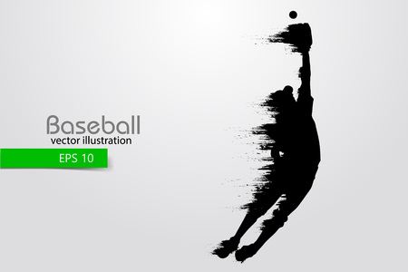 Silhouette of a baseball player.