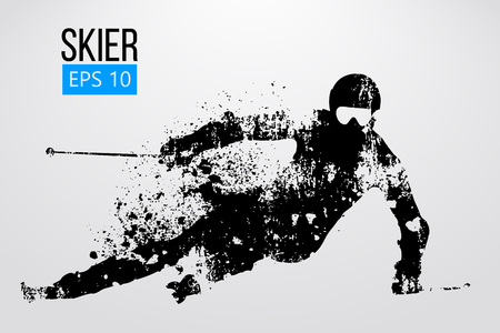 Silhouette of skier isolated. Vector illustration Фото со стока