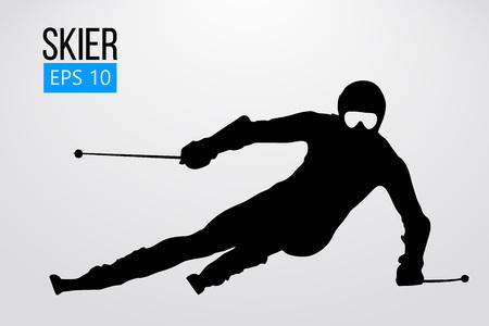 Silhouet van geïsoleerde skiër. Vector illustratie