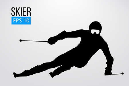 Silhouette of skier isolated. Vector illustration Imagens