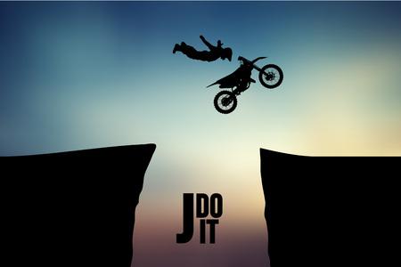Motocross stuurprogramma's silhouet. Achtergrond en tekst op een aparte laag, kleur kan met één klik worden gewijzigd. Vector illustratie