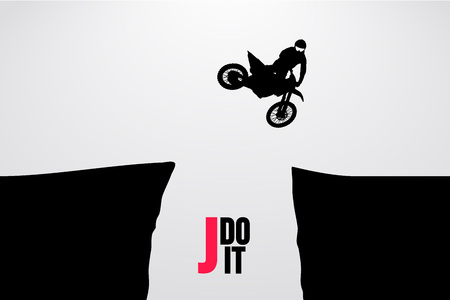 Motocross drivers silhouette. Background and text on a separate layer, color can be changed in one click. Vector illustration Иллюстрация