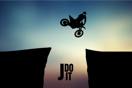 Motocross drivers silhouette. Background and text on a separate layer, color can be changed in one click. Vector illustration Stock Illustratie