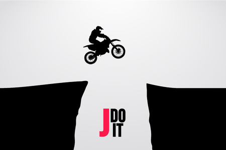 Motocross drivers silhouette. Background and text on a separate layer, color can be changed in one click. Vector illustration Vettoriali
