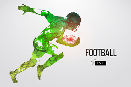 Silhouette eines Fußballspielers. Punkte, Linien, Dreiecke, Text, Farbeffekte und Hintergrund auf separaten Ebenen, Farbe kann mit einem Klick geändert werden. Vektor-illustration Vektorgrafik