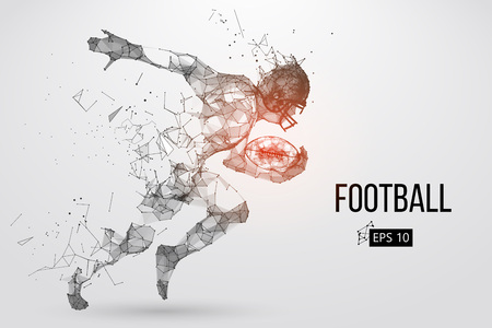 Silhouette of a football player. Dots, lines, triangles, text, color effects and background on a separate layers. Color can be changed in one click. Vector illustration. Vectores