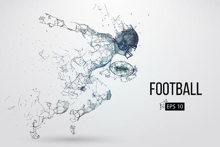 Silhueta de um jogador de futebol. Pontos, linhas, triângulos, texto, efeitos de cor e fundo em camadas separadas, cor pode ser mudada em um clique. Ilustração vetorial