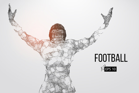 Silhouette of a football player. Dots, lines, triangles, text, color effects and background on a separate layers, color can be changed in one click. Vector illustration