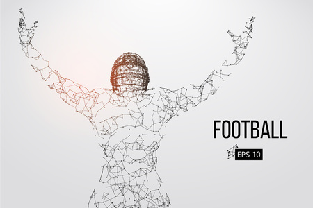 Silhouette of a football player. Dots, lines, triangles, text, color effects and background on a separate layers, color can be changed in one click. Vector illustration Stock Vector - 93833292