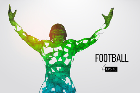 Silhouette of a football player. Dots, lines, triangles, text, color effects and background on a separate layers, color can be changed in one click. Vector illustration Reklamní fotografie - 93833303